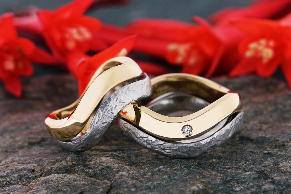 Jubiläumsringe Gelbgoldring aus alten Eheringen angefertigt