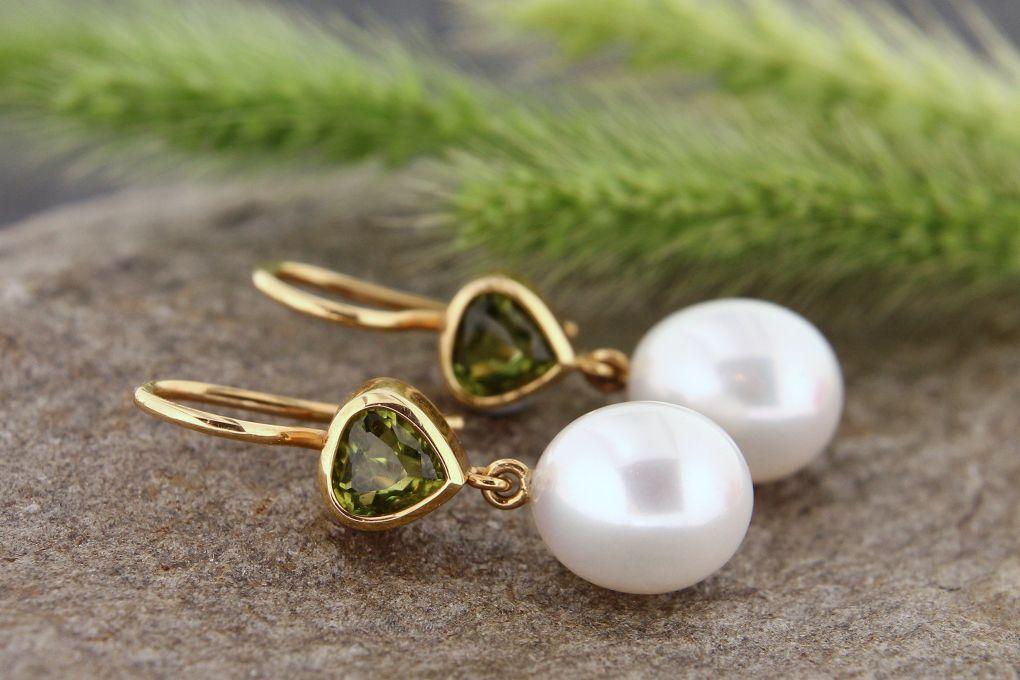 Ohrhänger Gelbgold 750, Turmalin mit Süsswasser-Perlen