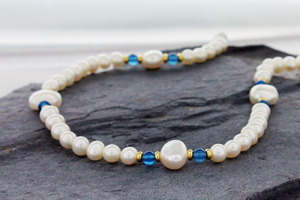 Süsswasser Perlen, mit Deko Teilen
