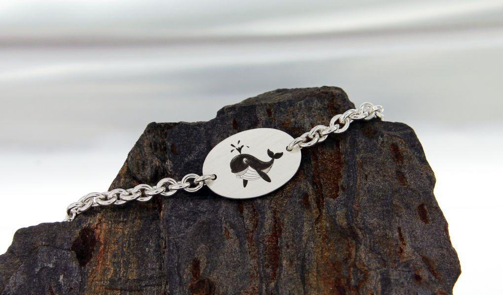 ID- Armband Silber 925, Tiermotiv gelasert, kann frei gewählt werden