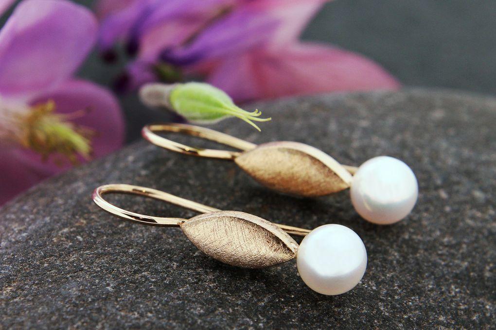 Ohrhänger Silber Rosévergoldet mit Perle