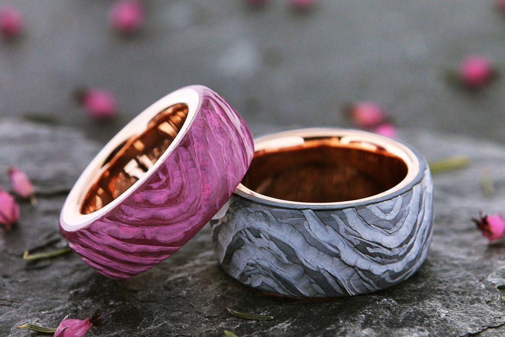 Eheringe Rotgold Keramik