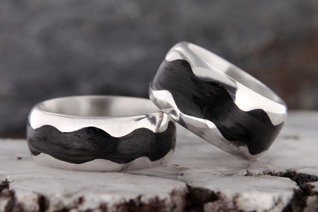 Eheringe Silber-Karbon, Breiten 9.5 und 11.5mm