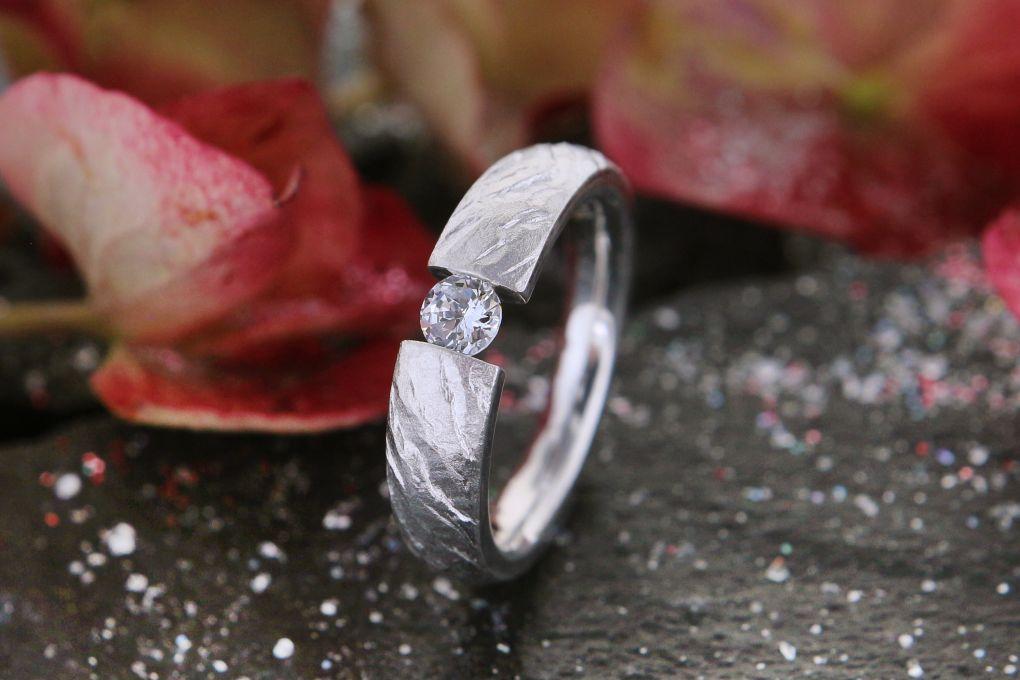 Verlobungsring in Weissgold 750, Preis auf Anfrage