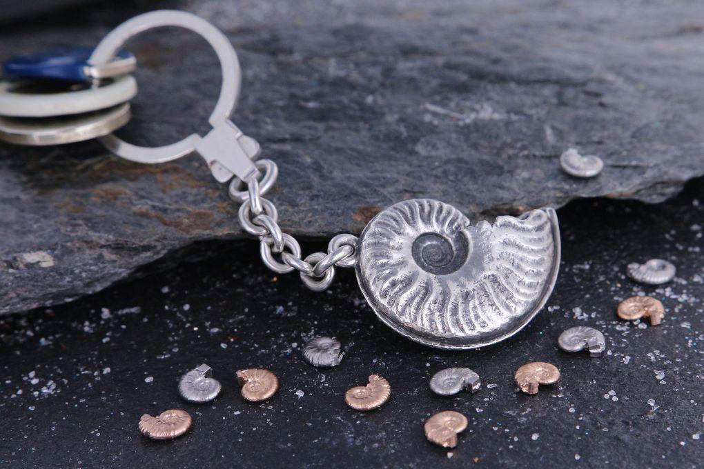 Schlüsselanhänger Ammonit in Silber 925