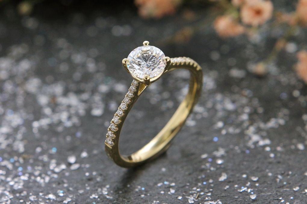 Verlobungsring Gelbgold 750, mit Brillanten 0,88ct